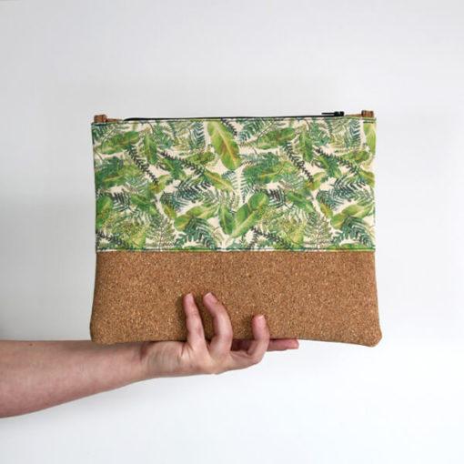 bolso de mano vegano estampado tropical