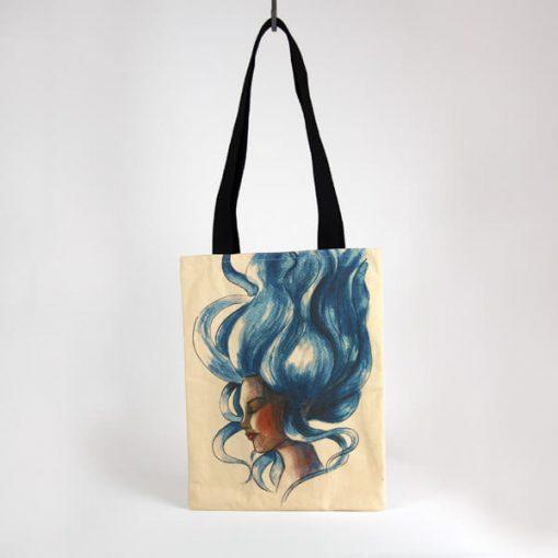 bolso tote con ilustración de mujer con pelo azul flotando