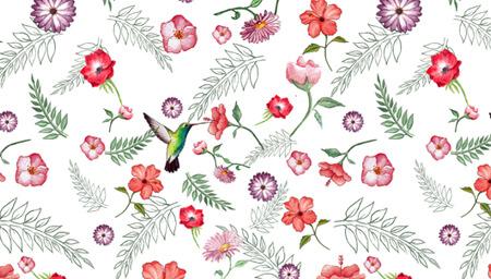 Estampado textil con flores y colibrí.