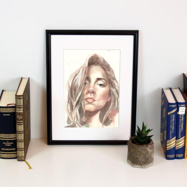 Ilustración creativa retrato en acuarela