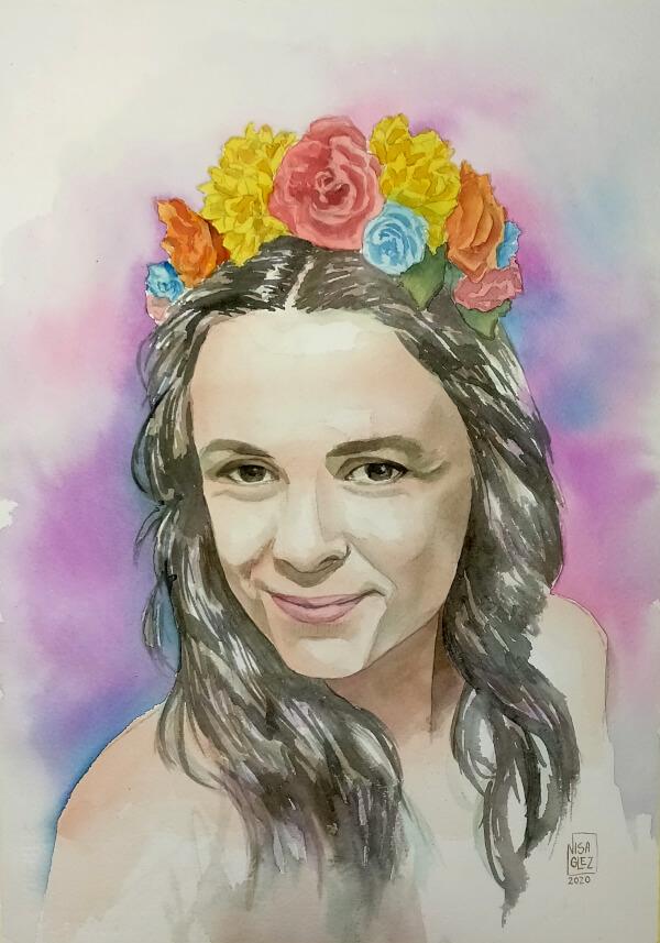 retrato por encargo con flores